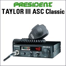 PRESIDENT TAYLOR III ASC Classic EMISORA CB DE 40 CANALES, TAMAÑO DIN